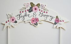 Custom Hand Painted Names Cake Topper Banner by firstsnowfall, $36.00