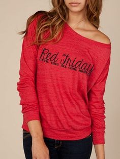 """RED FRIDAY """"remember everyone deployed"""" long sleeve (via Etsy)"""
