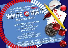 Minute To Win It Invitation...site also has instruction cards and other printables!!