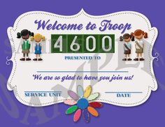 Girl Scouts Welcome to Our Troop Certificate. $7.50, via Etsy.