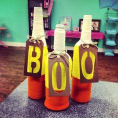 wine bottles, yarn