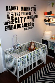 Use #decals of your favorite city places for a chic #black #nursery look.