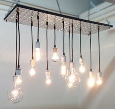 Industrial Diamond Plate Chandelier with Edison Bulbs \ Conference Room (Large)