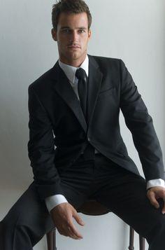 Simple black work suit.