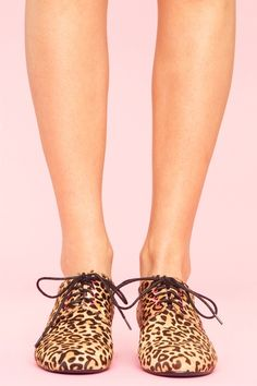 leopard oxfords. Would look cute with skinnies and a leather jacket.