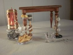 Steampunk Tea Table 1:12 scale dollhouse miniature artisan Lisa Neault / Pumpkin Hill Studios