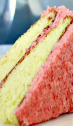 Lemon Cake with Fresh Strawberry Frosting