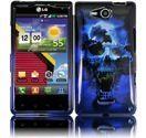 LG Lucid 4G VS840 Design Snap On Case - Blue Skull