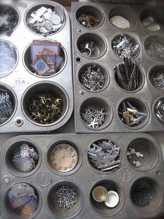 Old muffin pans for organization...