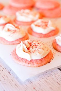 Strawberry cake mix cookies with vanilla cream cheese frosting!