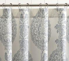 showers, curtain hook, lucianna medallion, bathroom accessori, bathroom accent, potteri barn, medallion shower curtain, shower curtains, pottery barn