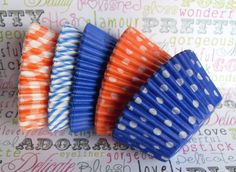 Assorted Blue and Orange Cupcake Liners (100). $6.95, via Etsy.