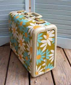 fabric cover old suitcases