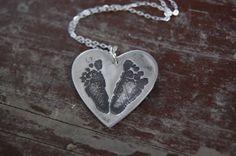 Customized Footprint Heart Necklace