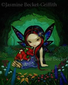 Dragonling Garden I red dragon gothic fairy fantasy lowbrow art print by Jasmine Becket-Griffith 8x10