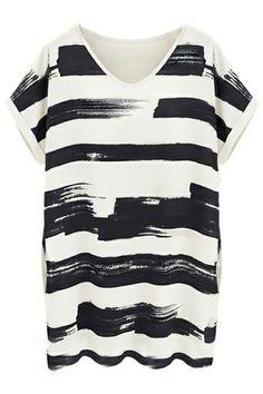 V-neck Striped Loose Black Dress
