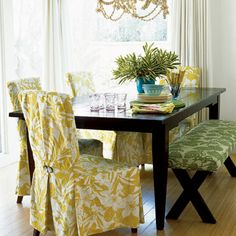 slipcovers dining rooms, chair covers, bench, dining room tables, decorating ideas, dining chairs, california style, decorating tips, dining tables