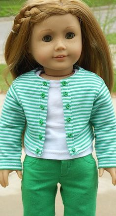 Striped Knit Jacket And Green Capri Outfit For American Girl Or Similar 18-Inch Dolls. $28.99, via Etsy.