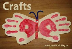 Hand print craft for kids that creates a beautiful butterfly. Add a magnet and stick this memento to the fridge!  #kidscrafts #play #kids #children #handprintcraft
