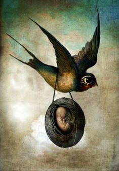 """Precious flight"" - Vintage Surreal Illustrations by Catrin Welz-Stein 