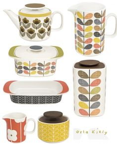 Orla Kiely kitchenware. Colorful with a vintage feel.