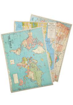 It Wont Be Longitude Print Set by Cavallini & Co. - Multi, Dorm Decor, Travel, Top Rated