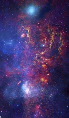 """'Blue Nebula #1' fabric by Corseceng at Spoonflower.  42"""" by 72"""" Star field map featuring a purple and blue nebula"""