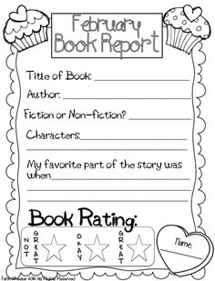 February Book Report Freebie