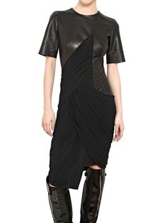 Love this draped leather dress from Alexander Wang