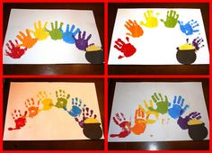 pot of gold, rainbow crafts, hands, rainbows, craft idea, hand prints, st patricks day, craft party, kid