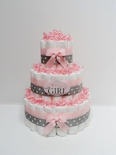 Baby Girl Pink And Gray Diaper Cake Baby by LanasDiaperCakeShop, $49.99