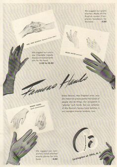 Bloomingdale's Famous Hands glove ad, 1940. #vintage #1940s #gloves #fashion
