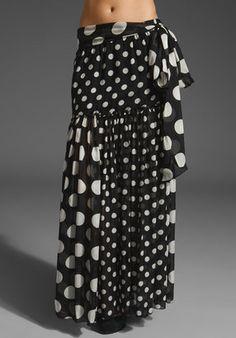 Long polka dot skirt.