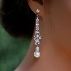 Wedding Jewelry Bridal Earrings Long Art Deco by LuluSplendor, $49.00