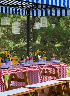Outdoor Dinner Party Ideas | 4th of July Party via Kara's Party Ideas #outdoor #patriotic #July ...