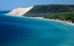 Sleeping Bear Dunes, MI! Photo taken from Empire Bluffs- you can see the bear in the distance!