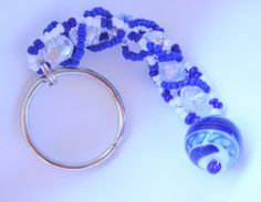 Beaded Keychain Blue and White/ Cell Phone Charm or Chain/ Laptop Case Zipper Pull/ Diaper Bag Zipper Pull/ #bestofEtsy #Etsy_Today