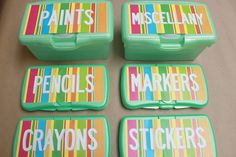 use old baby wipe containers for  supplies...Free printable lables for wipes containers.