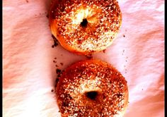 Bagels... Make fresh homemade bagels using store bought pizza dough.