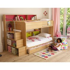 bookshelf staircase for bunk beds...something like this in white