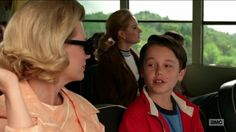 """Mad Men Season 7 Episode 3, """"Field Trip"""". Bobby is telling his mom about Frankenstein, Dracula, Wolfman, The Mummy, the Creature From the Black Lagoon, and King Kong. He says, """"I like all of them but I guess Wolfman is my favorite because he changes into it."""" Betty says, """"Well Dracula changes into a bat."""" to which Bobby, after briefly thinking about it, excitedly replies """"That's true!"""" http://www.nypl.org/blog/2012/02/27/mad-men-reading-list"""
