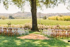 colorblocking chairs for ceremony - photo by Matt Edge - http://ruffledblog.com/southern-inspired-wedding/