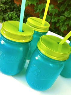 Four Food and Dishwasher Safe Hand Painted Mason Jar by MarshHome, $28.00