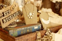 Whimsy: necklace on burlap card -future shop