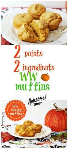 Best weight watchers #pumpkin muffins.  2 points, 2 ingredients