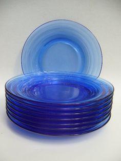 Moderntone cobalt blue depression era glass plates...Lisa