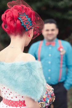 Superhero Comic Book Wedding POW Hair clip wedding themes, book wedding, hair clips, color combos, geek wedding, comic books, themed weddings, hair accessories, theme weddings