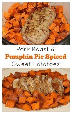 Pork Roast and Pumpkin Pie Spiced Sweet Potatoes   5DollarDinners.com