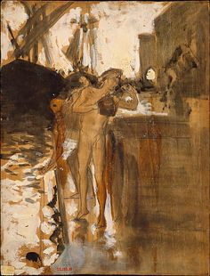 The Balcony, Spain [and] Two Nude Bathers Standing on a Wharf  John Singer Sargent  (American, Florence 1856–1925 London)