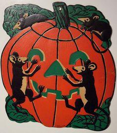 Vintage Halloween Diecut Rats and Jack-O-Lantern